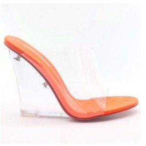 Clear Peep Toe Wedge Heel Sandals in Neon Orange